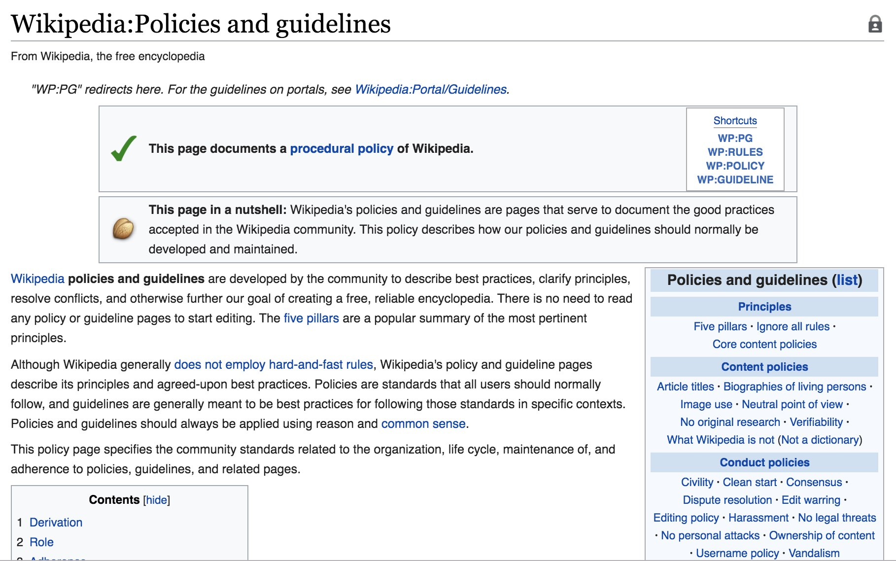 Published Policies